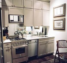 lovely grey mini kitchen.  apartment living.  condo.  home decor and interior decorating ideas for small spaces.