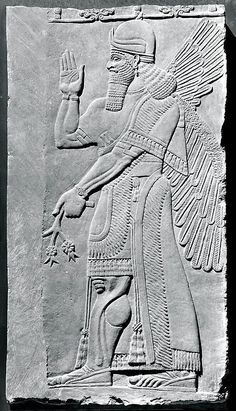 Relief panel  Period: Neo-Assyrian Date: ca. 883–859 B.C. Geography: Mesopotamia, Nimrud (ancient Kalhu) Culture: Assyrian Medium: Gypsum alabaster