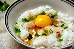 Fresh Raw Egg on top of Rice/ 卵かけご飯