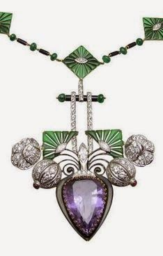 Vintage Amethyst & Diamond Necklace, The chain is composed of 9 gold and enamel segments, each centered with marquise shaped diamond, alternating emerald rondelles and black enamel bars. Center piece is a pear shaped amethyst hanging from a enamel bar surrounded with diamond encrusted flowers. Circa 1930s.
