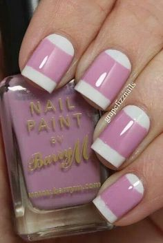 White with lavender stripe -  white oval at base of nail.