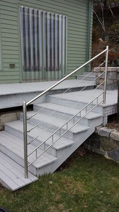 stainless steel cable rail fabricated and installed by Custom iron Craft out of Wilmington/Tewksbury Ma. Handicap Ramps, Stainless Steel Cable Railing, Balcony Railing, Pool Fence, Fence Gate, Iron, Windows, Craft, House