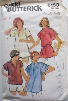 Quick Butterick Sewing Pattern - Loose Fitting Kimono Sleeve Top - Butterick 6153 -  Size 12, Bust 34, Missing View C Pocket by Shelleyville on Etsy