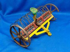 Original Antique Arcade Toy Cast Metal Hay Rake Farm Implement Drag for Tractor
