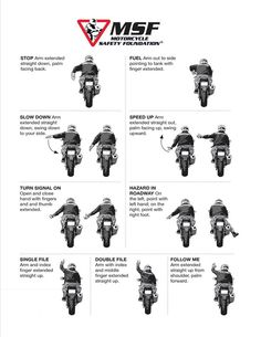 Hand signals you need to know when riding a motorcycle - solo & most certainly when in a group Hand Signals, Biker Quotes, Motorcycle Garage, Slow Down, Toys For Girls, Good To Know, Motorbikes, Road Trip, Safety