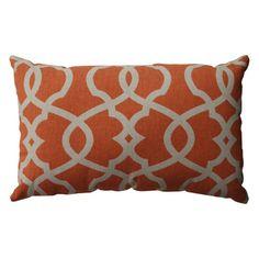 Pillow Perfect Lattice Damask Tangerine Rectangular Throw Pillow 22$ overstock 18x11