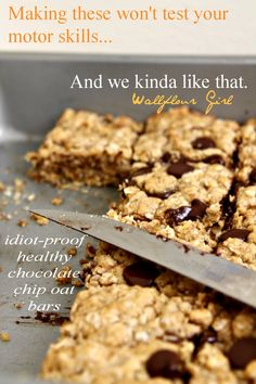 Idiot-Proof Healthy Chocolate Chip Oat Bars | Wallflour Girl