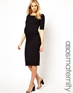 ASOS Maternity Bardot Dress With Half Sleeve In Longer Length. When you feel like channeling your inner Posh Spice!