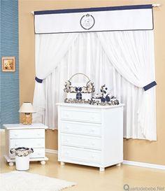 cortina com bandô ursinhos azul e branco para quarto de bebê menino
