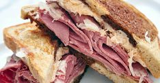 New York Reuben with Ale‑Soaked Kraut Recipe — Craft Beer & Cooking Reuben Sandwich, Sandwich Recipes, Alton Brown, Beer Kitchen, Hoe Cakes, Cooking With Beer, Dressing, Meat And Cheese, Mini Foods