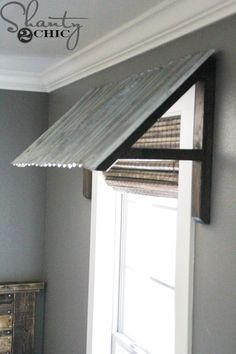 used indoors, but would also be neat outside / DIY-Corrugated-Metal-Awning