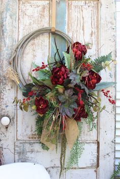 Do It Yourself Pet Property Guidance And Schematic Data Lariat Rope Wreath With Red Peonies, Greenery, And Burlap Bow Rope Crafts, Wreath Crafts, Diy Wreath, Door Wreaths, Ribbon Wreaths, Tulle Wreath, Floral Wreaths, Burlap Wreaths, Wreath Ideas