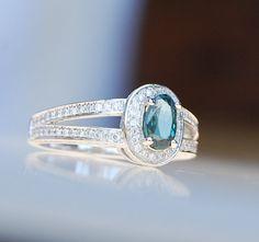 Alexandrite engagement ring 14k white gold by EidelPrecious