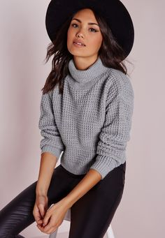 Missguided - Fisherman Stitch Roll Neck Sweater Grey