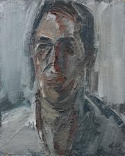 Aguayo, Portrait d'homme de face, huile sur panneau, 40x33cm, contresignée et redatée 1968