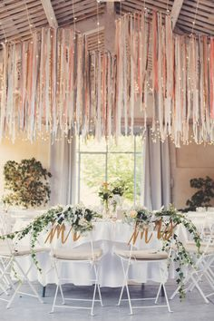 Hanging Ribbon Reception Decor | Claire Brun Photography | Fall 2015 Wedding Colors in Taupe, Mauve, and Dusty Rose