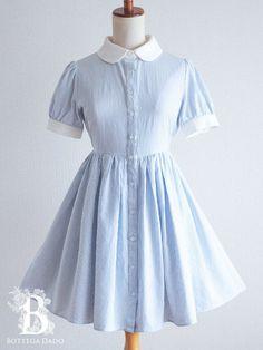 dd30daa6c Vintage 1950s Dresses, Kawaii Clothes, Collar Dress, Blue Stripes, Striped  Dress, Blue And White, Jumper, Dress Skirt, Short Sleeve Dresses
