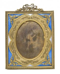 A French Gilt Bronze and Guilloche Enameled Frame