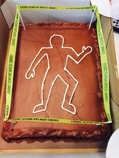 Costco chocolate sheet cake decorated at home for a crime scene party / the detective project. Pimped Costco cake
