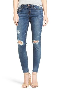 Free shipping and returns on SP Black Raw Edge Skinny Jeans at Nordstrom.com. Update your weekend wardrobe with soft, stretch-denim skinny jeans featuring faded whiskers, distressed patches and on-trend raw, cutoff hems.