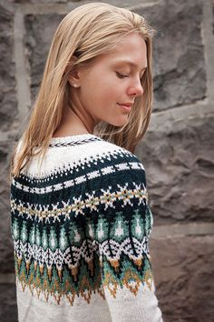 Bistort Pullover | I'd like to knit this, but I'd start the neckline a lot lower--pretty soon after the colourwork ends--to make more of a boat neck. I can't stand wearing a high neck, I always feel strangled. This is so pretty!