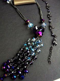 Purple Blue Aurora Crystal Bead Tassel Necklace 1928 Co Rhinestone Bracelet #StudioS1928CoAntiquities