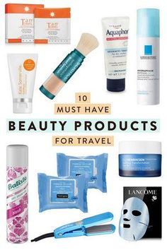 10 must have beauty products for travelers looking to bring the most important makeup, skin and hair care on their trip while still packing lightly! products best products drugstore products must have products natural products that really work Travel Advice, Travel Tips, Travel Hacks, Travel Packing, Travel Articles, Travel Ideas, Beauty Secrets, Beauty Products, Travel Products