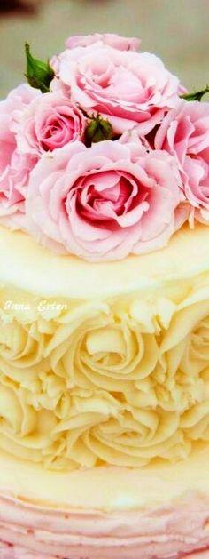 Photo by Marti Wedding Cake Rustic, Elegant Wedding Cakes, Elegant Cakes, Wedding Cake Designs, Wedding Cake Toppers, Cupcake Recipes, Cupcake Cakes, Yellow Cupcakes, Buttercream Wedding Cake