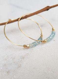 Aquamarine Earrings,Blue Hoop,14K Gold Hoop,Hoop Earrings,Sterling Silver 925 Earrings,Gold Hoop Earrings,Beaded Hoop Earrings,Aquamarine