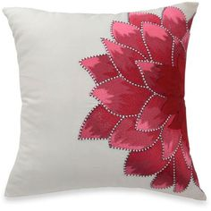 Blissliving Home White Blissliving Home Dahlia Dec Pillow ($90) ❤ liked on Polyvore featuring home, bed & bath, bedding, bed pillows, white, cotton quilt set, white queen duvet, queen duvet, white duvet and king size quilt sets