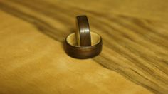 Bentwood pair of rings Lined With Eben Diospyros от ArtWoodTrend