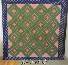 Outstanding 1840 50s Album Antique Quilt Brilliant Blue Brown Green 93 x 92 | eBay