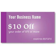 Stylish Violet Beauty Salon Coupons Business Card