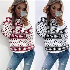 2017 KLV New Fashion Women Xmas Christmas Floral Print Long Sleeve Blouse  Top Sweatshirt For New d430af499db0