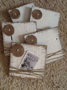 White distressed barn wood picture frames with rapped jute and flower. Perfect wedding or good ol home decor. Size of barn wood plank: Barn Wood Picture Frames, Picture On Wood, Wood Frames, Frames Ideas, Make Picture Frames, Decorating Picture Frames, Photo Frames Diy, Picture Boards, Wood Photo