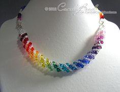 Swarovski necklace Spectrum rainbow twisty Swarovski by candybead, $18.50