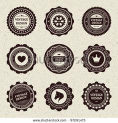 Vintage style retro emblem label collection. Vector design elements. by VikaSuh, via Shutterstock