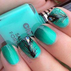 Green Peacock Feather Nail Art Design