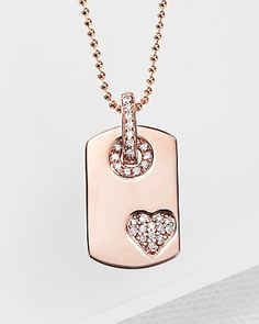 Rose Gold Dog Tag Pendant with Diamond Accents - Stylehive
