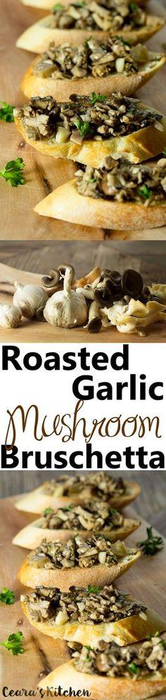 Roasted Garlic and Mushroom Bruschetta