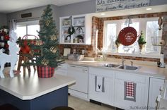 Holiday Home Tour 2015 | The Other Side of Neutral Farmhouse Christmas Kitchen, buffalo check, plaid, painted cabinets, brick backsplash, farmers market