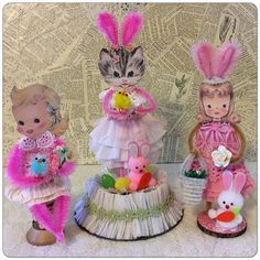 Re-purposing Vintage Linens and Mix Media Easter Projects, Easter Crafts, Craft Projects, Easter Decor, Craft Ideas, Vintage Ornaments, Vintage Crafts, Vintage Easter, Vintage Valentines