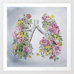 Floral Anatomy: Lungs Art Print by Trisha Thompson Adams - $19.00