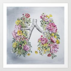 Floral Anatomy: Lungs Art Print by Trisha Thompson Adams - $19.00