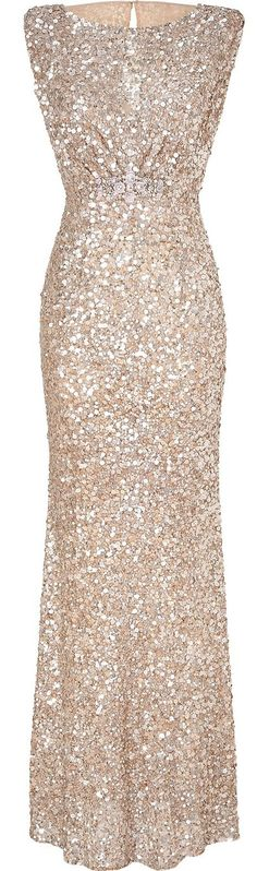 Stunning sparkly gold long dress . With maybe a dark purple ribbon around the waist to match the groomsmen
