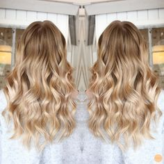 soft natural blonde with darker roots and lots of shine!