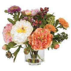 Brighten your kitchen windowsill or entryway console with this blooming arrangement, featuring faux peonies in a clear glass vase.      ...