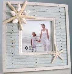 Cute idea for decorating a frame with shells