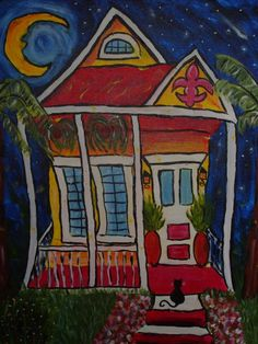 New Orleans Yellow House, acrylic on canvas, 16x20