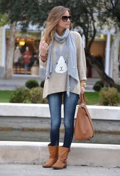 fall outfit - Boots | Bag | Sweater | Scarf | Jeans